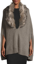 Three Dots Alex Cape Cardigan w/ Removable Faux-Fur, Mink