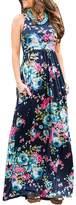Assivia Women's Floral Print Sleeveless Pockets Tunic Long Maxi Casual Dress (XL, )