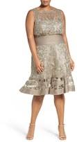Tadashi Shoji Plus Size Women's Embroidered Tulle & Pintuck Blouson Dress