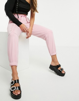Bershka oversized jogger co-ord in pink