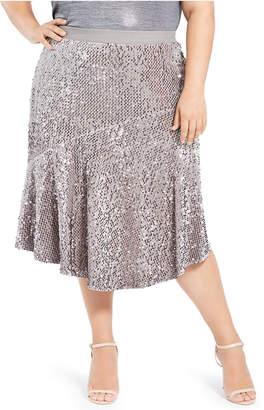 Calvin Klein Plus Size Asymmetric Sequin Skirt