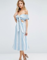 Majorelle Rum Runner Off Shoulder Midi Dress