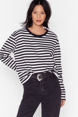 Nasty Gal Womens Be Stripe Back Relaxed Crew Neck Tee - Black