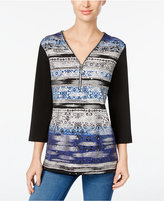 JM Collection Petite Printed Zip-Front Top, Only at Macy's