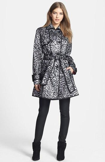 Betsey Johnson Leopard Print Mesh Overlay Trench Coat
