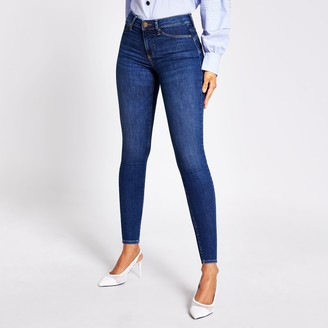 River Island Womens Blue bum sculpting Molly mid rise jeggings