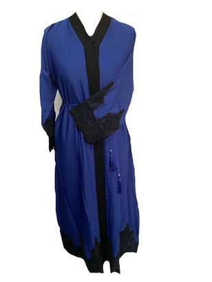 SHI Boutique L03 Ladies Long Nida Open Lace Abaya Kimono Maxi Belt in Royal Blue Sizes 52-60 (Size 60)
