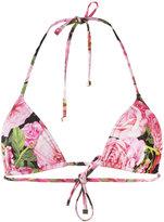 Dolce & Gabbana rose print triangle bikini top - women - Polyamide/Spandex/Elastane - 2