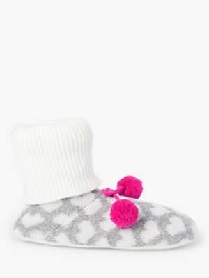 John Lewis & Partners Heart Pom Pom Slipper Ankle Socks, Grey/Multi