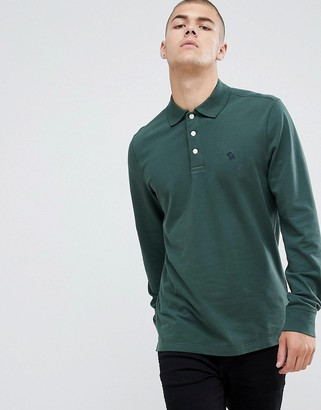 Abercrombie & Fitch icon logo long sleeve stretch pique polo in green