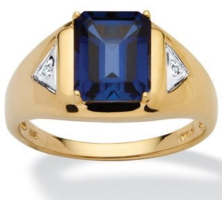 PalmBeach Jewelry Men's 2.75 TCW Emerald-Cut Sapphire Ring in 18k Gold over .925 Sterling Silver