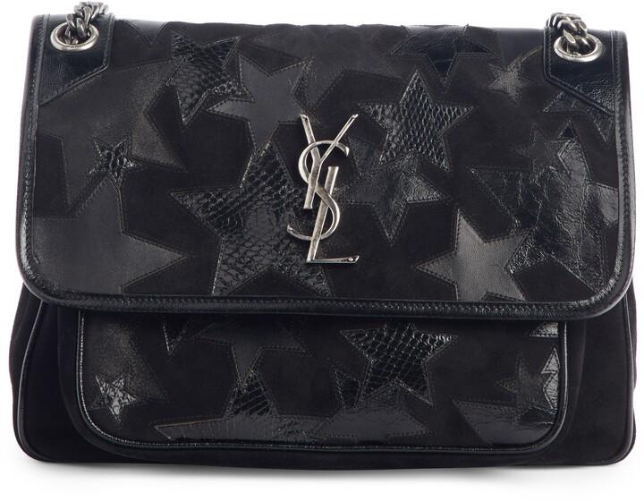 a27103315a Medium Niki Patchwork Suede Shoulder Bag