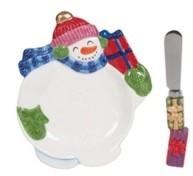 Fitz & Floyd Holly Jolly Snowman Snack Plate