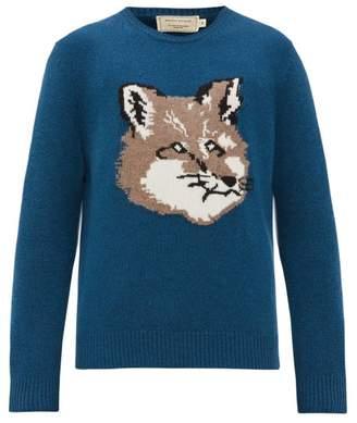MAISON KITSUNÉ Fox Head Wool Sweater - Mens - Mid Blue