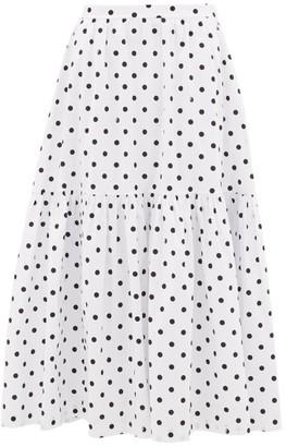 STAUD Polka-dot Cotton-blend Skirt - Black White