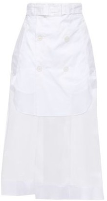 Maison Margiela Belted Layered Poplin And Organza Midi Skirt