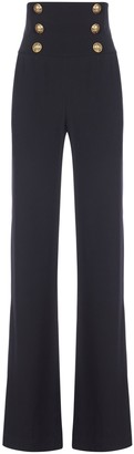Balmain Button Detail High-Waisted Flared Pants