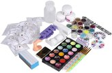 Nail Art Tools Kit Set, Kingfansion 21Acrylic Nail Art Tips Powder Liquid Brush Glitter Clipper Primer File Set Kit
