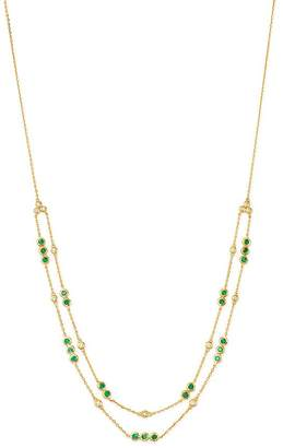 """Bloomingdale's Emerald & Diamond Double Layer Necklace in 14K Yellow Gold, 18"""" - 100% Exclusive"""