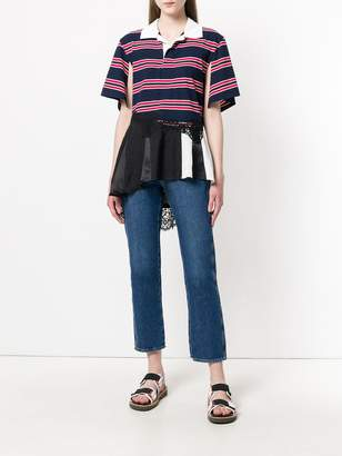 Koché layered-hem striped polo top
