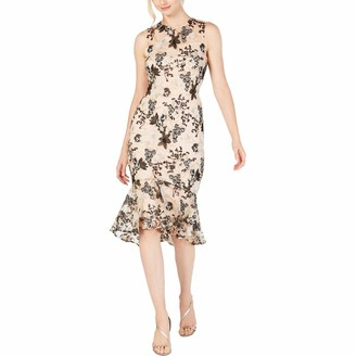 Calvin Klein Women's Sleeveless Embroidered Lace Cocktail Dress with Flounce Hem