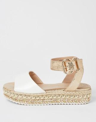 River Island Girls Studded Flatform Sandal -White
