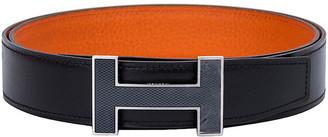 One Kings Lane Vintage Hermes Black & Orange Unisex H Belt - Vintage Lux