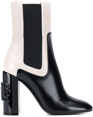 Casadei Two-Tone Block Heel Boots