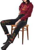 Topshop PETITE Rose Embroidered Mom Jeans 28-Inch Leg
