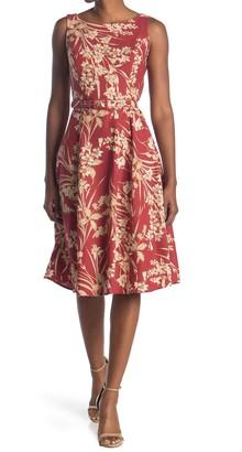 London Times Boatneck Floral Belted Dress
