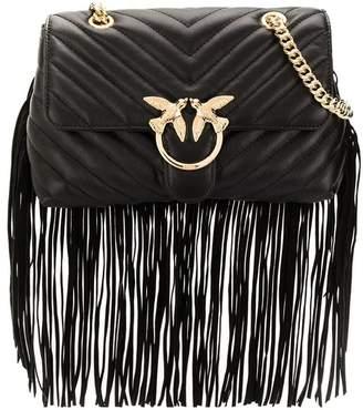 Pinko Love Puff Fringes Black Crossbody Bag