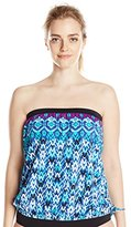 Maxine Of Hollywood Women's Plus-Size Diamond Kisses Bandeau Blouson Tankini