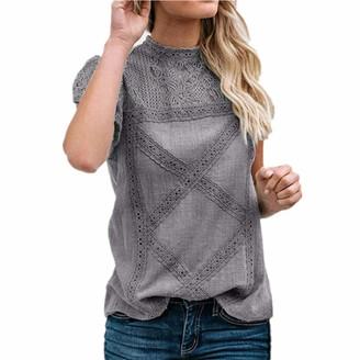 SALEBLOUSE Womens Chiffon Lace Comfy Tops Denim Short Sleeve Boho Floral Printed Plus Size Crew Neck Cool Blouses Shirts T Shirt Vest Tops Size S-5XL
