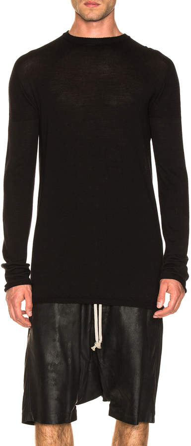 Rick Owens Oversized Roundneck Sweater in Black   FWRD