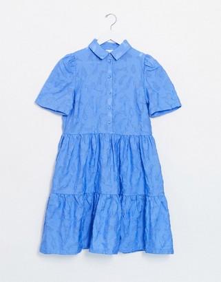 Vila lace smock shirt dress in blue