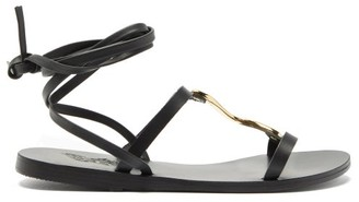 Ancient Greek Sandals Nemesis Wrap-around Leather Sandals - Black Gold