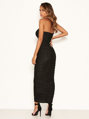 AX Paris Ruched Wrap Bodycon Dress - Black