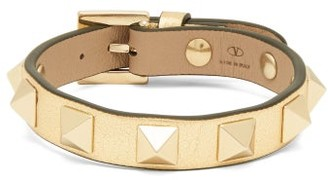 Valentino Rockstud Leather Bracelet - Womens - Gold