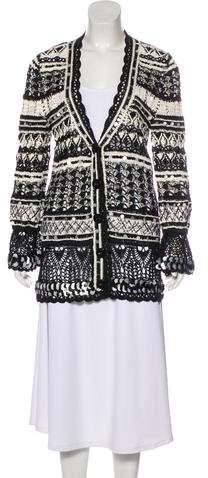 Oscar de la Renta Crocheted Silk Cardigan