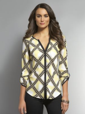 New York & Co. Graphic Button Front Blouse with Roll-Tab Sleeves