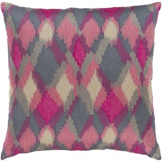 """Surya Camila Jacquard Throw Pillow Color: Pink/Red, Size: 18"""" H x 18"""" W x 0.25"""" D"""
