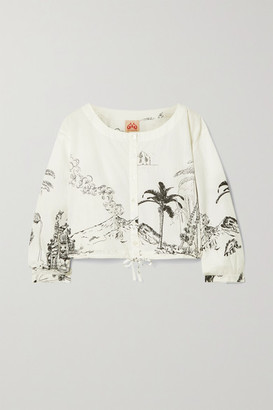 Le Sirenuse Positano Jinny Cropped Printed Cotton Top - White