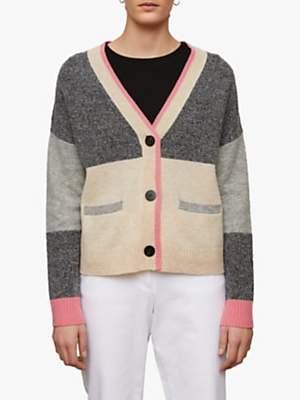Jigsaw Moulinee Lambswool Colour Block Cardigan, Grey