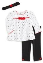 Little Me Infant Girl's Polka Dot Tunic, Pants & Headband Set
