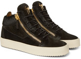 Giuseppe Zanotti Logoball Calf Hair And Suede High-top Sneakers - Green