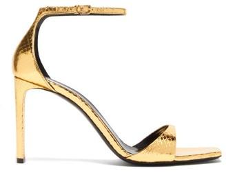 Saint Laurent Bea Metallic Snakeskin-embossed Leather Sandals - Gold