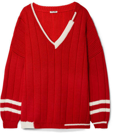 Miu Miu Oversized Striped Ribbed Wool Sweater - Red