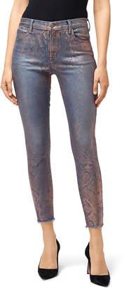 J Brand Alana High-Rise Crop Skinny with Snake Foil Finish