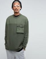 Asos Oversized Longline Sweatshirt With Woven Yoke Pocket & Taping Detail