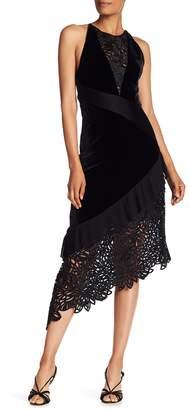 Ramy Brook Julianne V-Neck Contrast Crochet Knit Pleat Dress